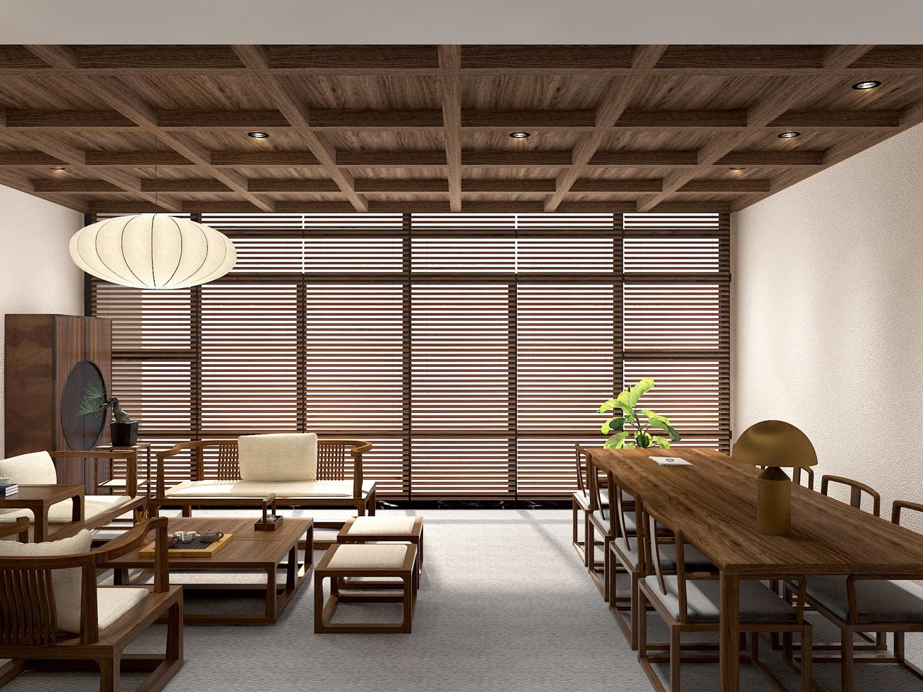 新中式茶居会所_茶空间_茶室设计